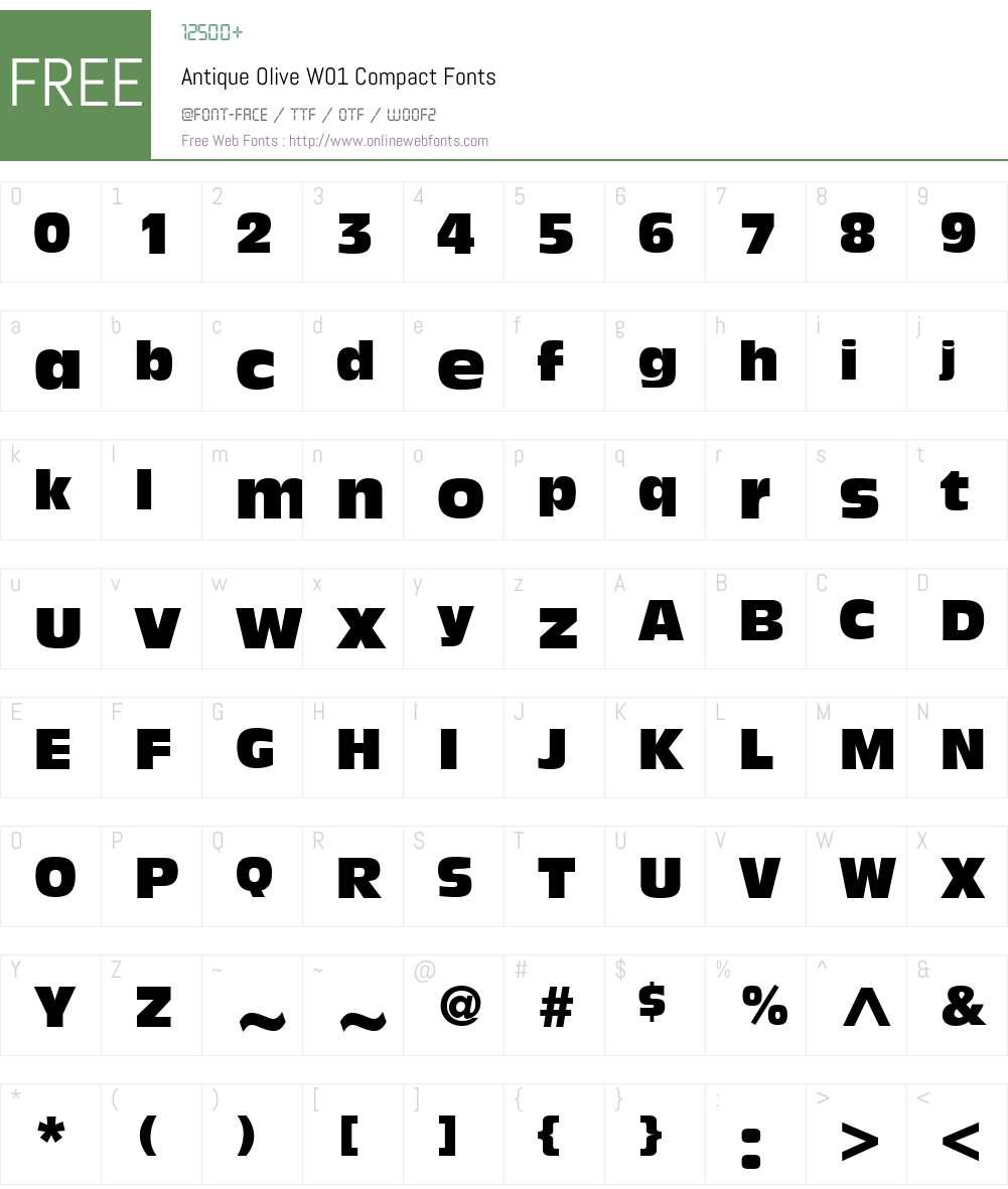 AntiqueOliveW01-Compact Font Screenshots