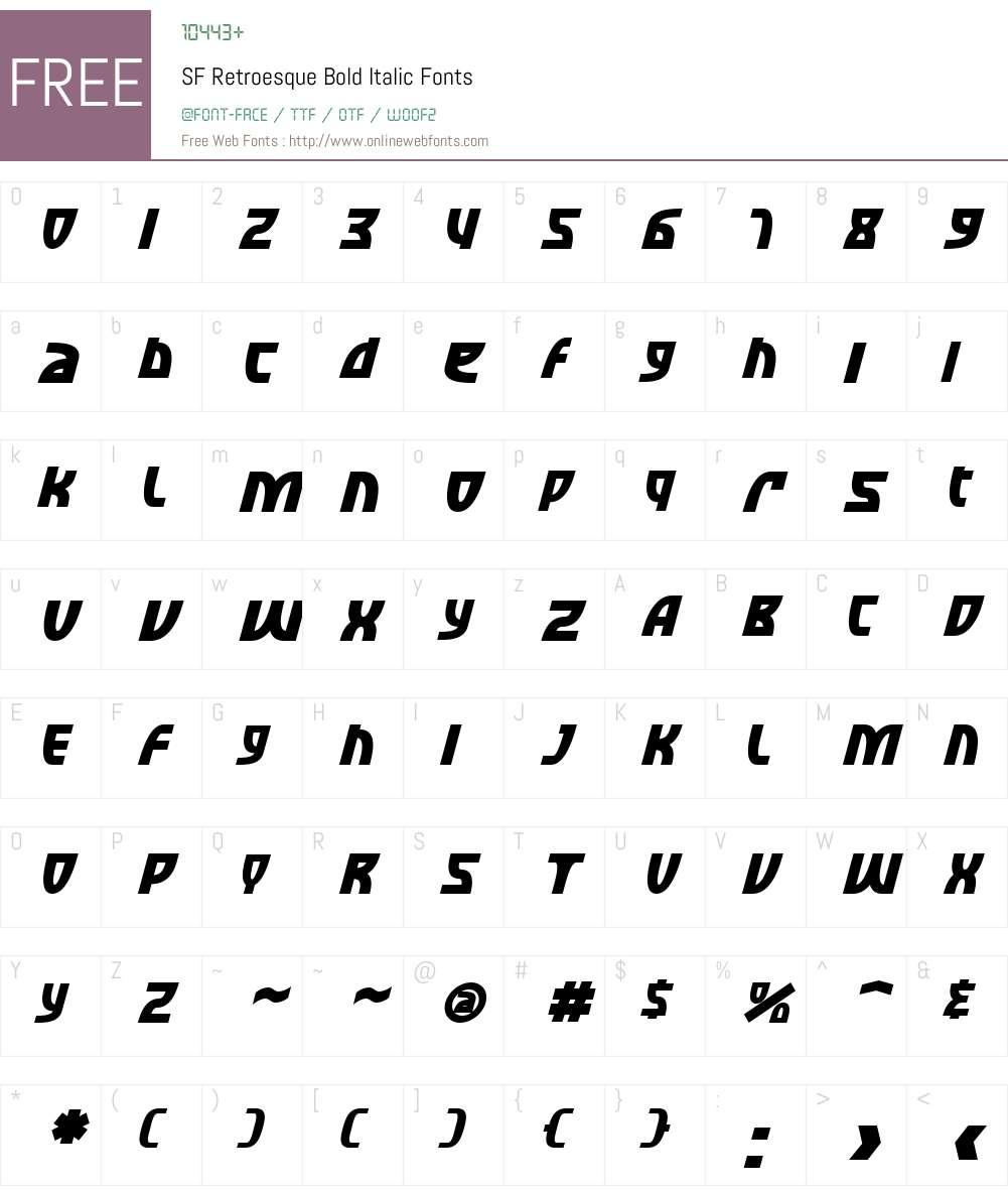 SF Retroesque Font Screenshots