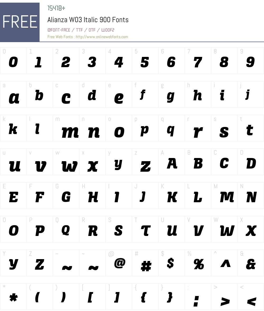 AlianzaW03-Italic900 Font Screenshots