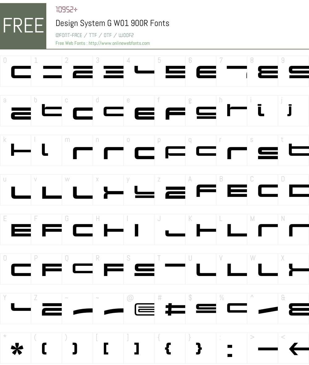 DesignSystemGW01-900R Font Screenshots