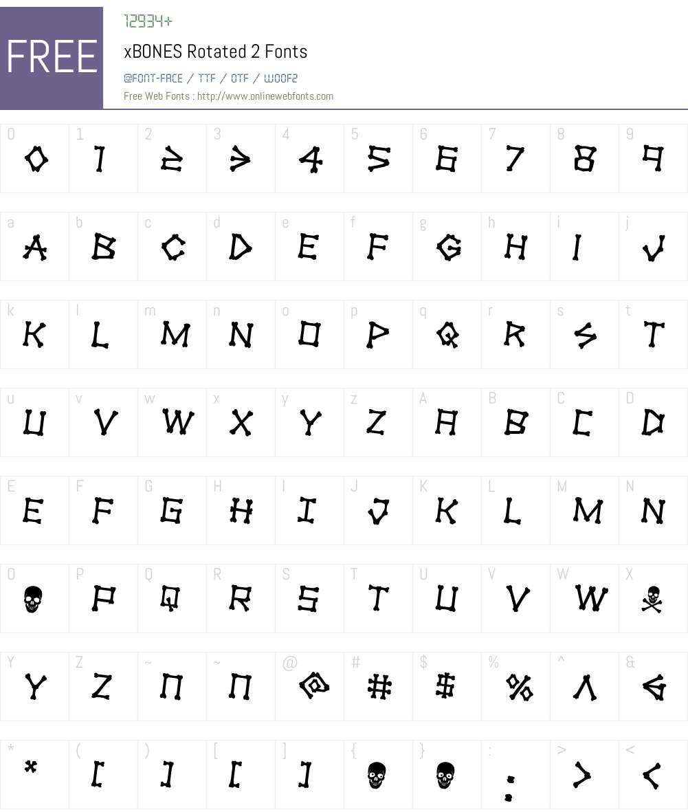 xBONES Rotated 2 Font Screenshots