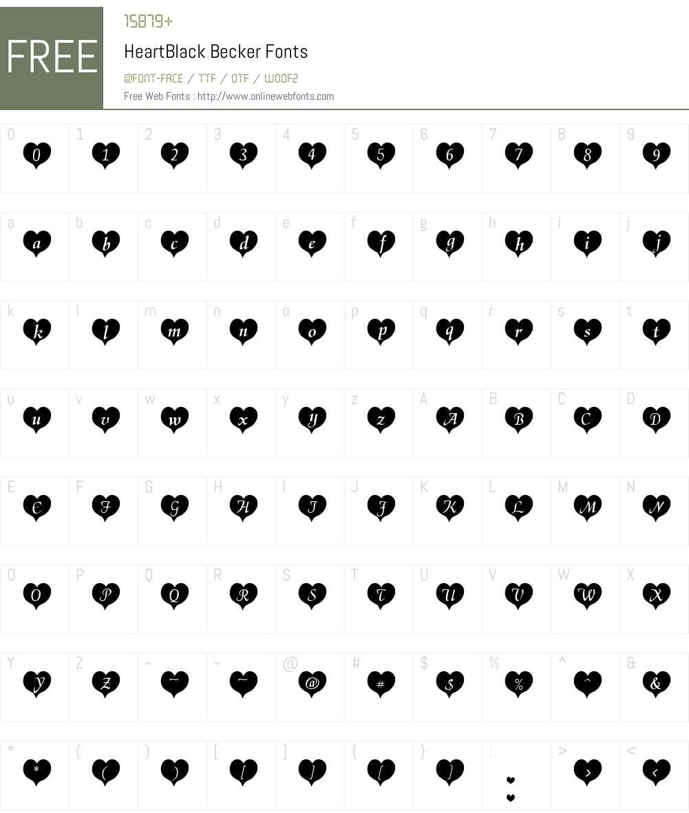 HeartBlack Becker Font Screenshots