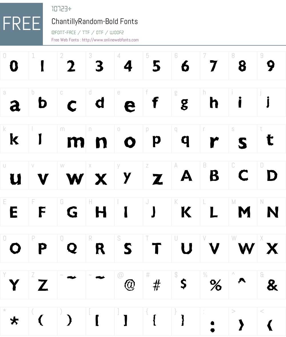 ChantillyRandom Font Screenshots