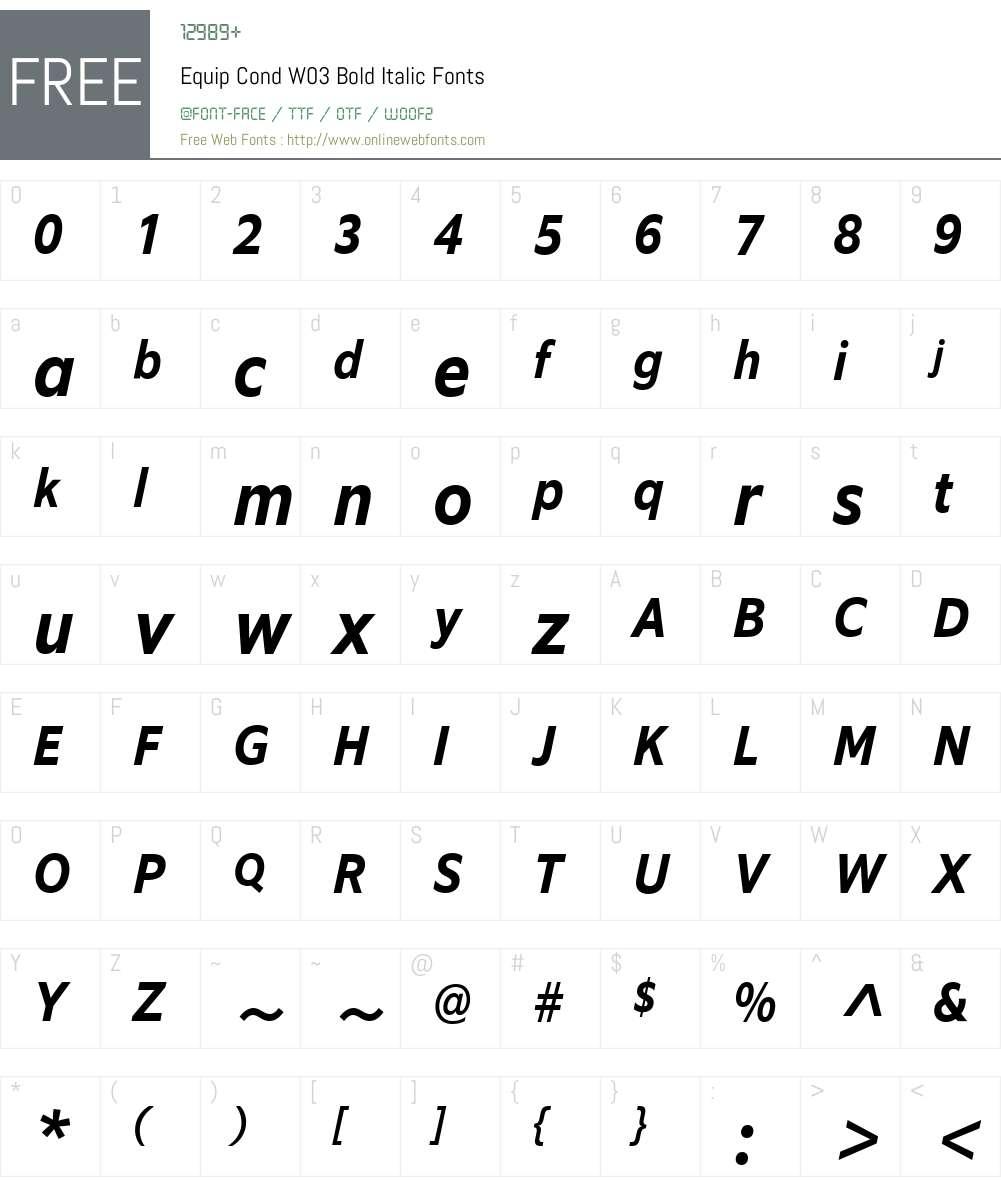 EquipCondW03-BoldItalic Font Screenshots