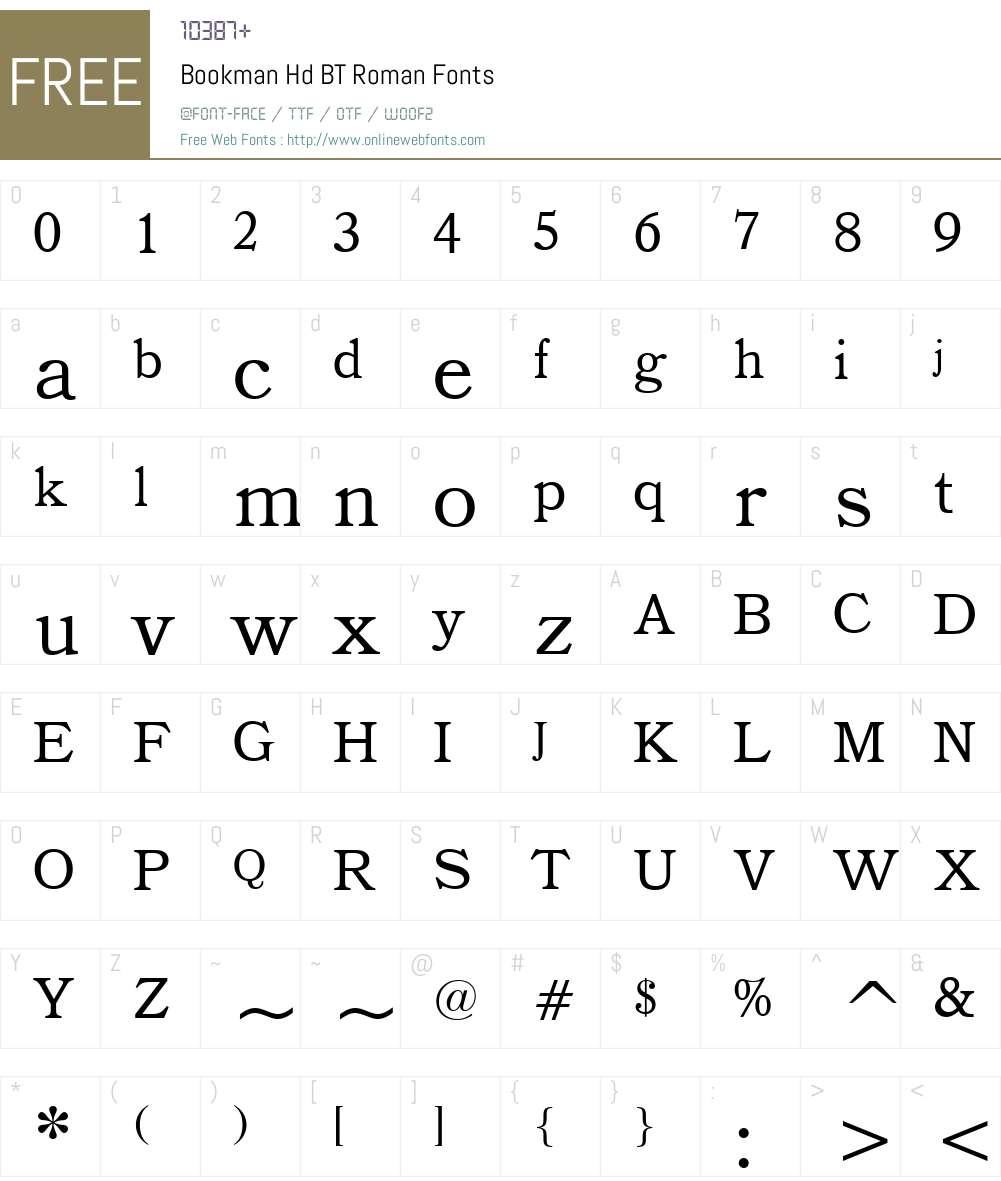 Bookman Hd BT Font Screenshots