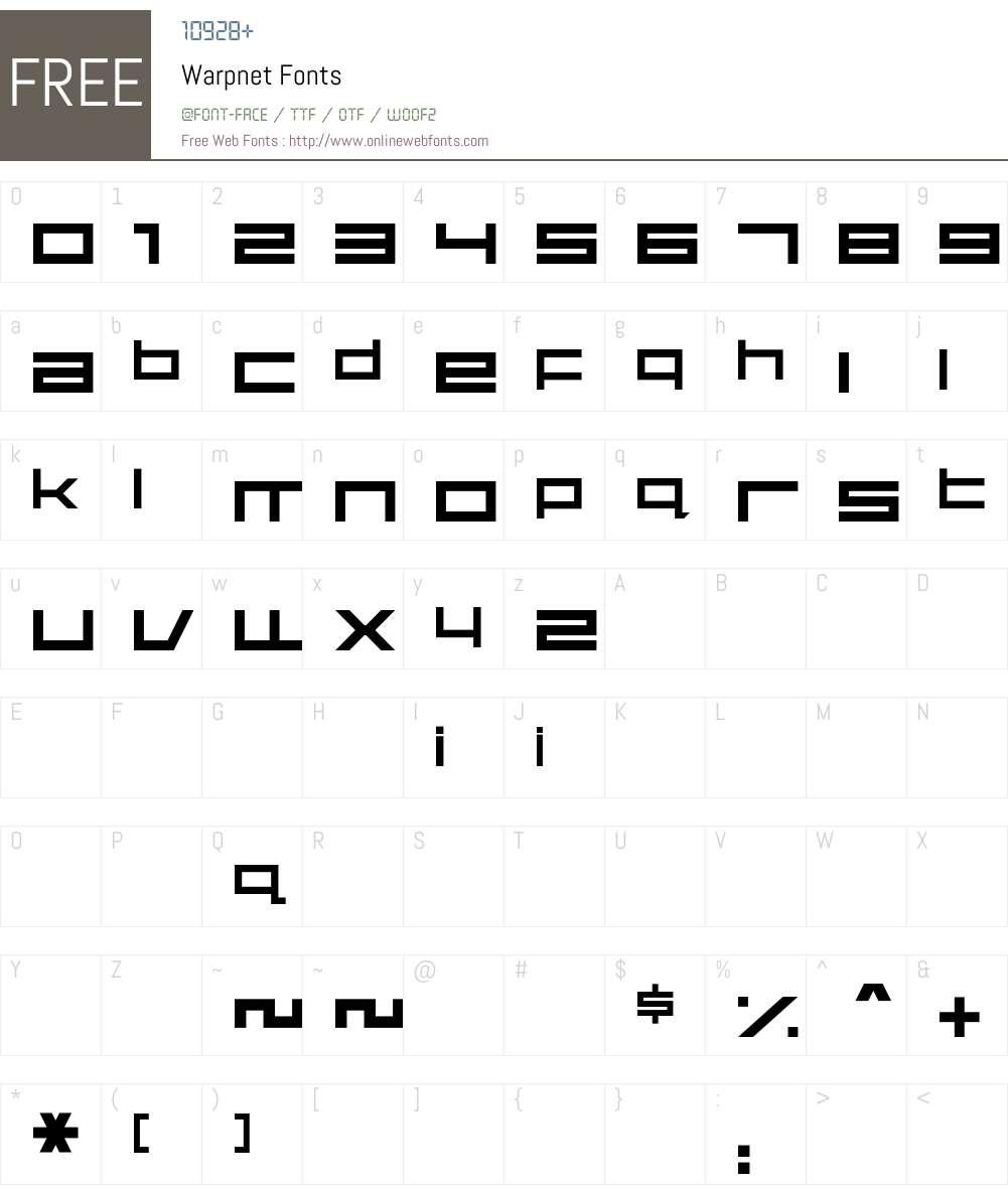 Warpnet Font Screenshots