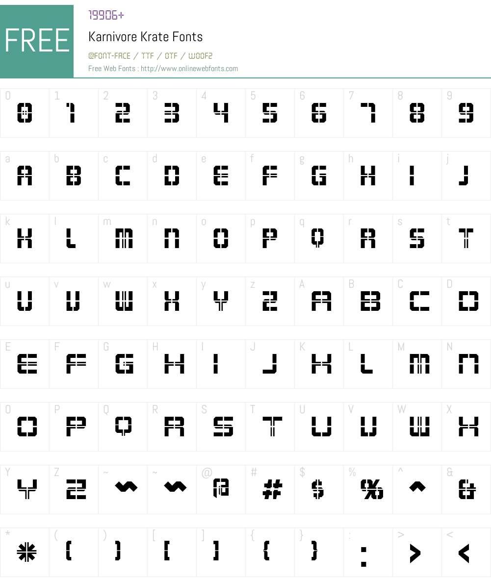 Karnivore Krate Font Screenshots