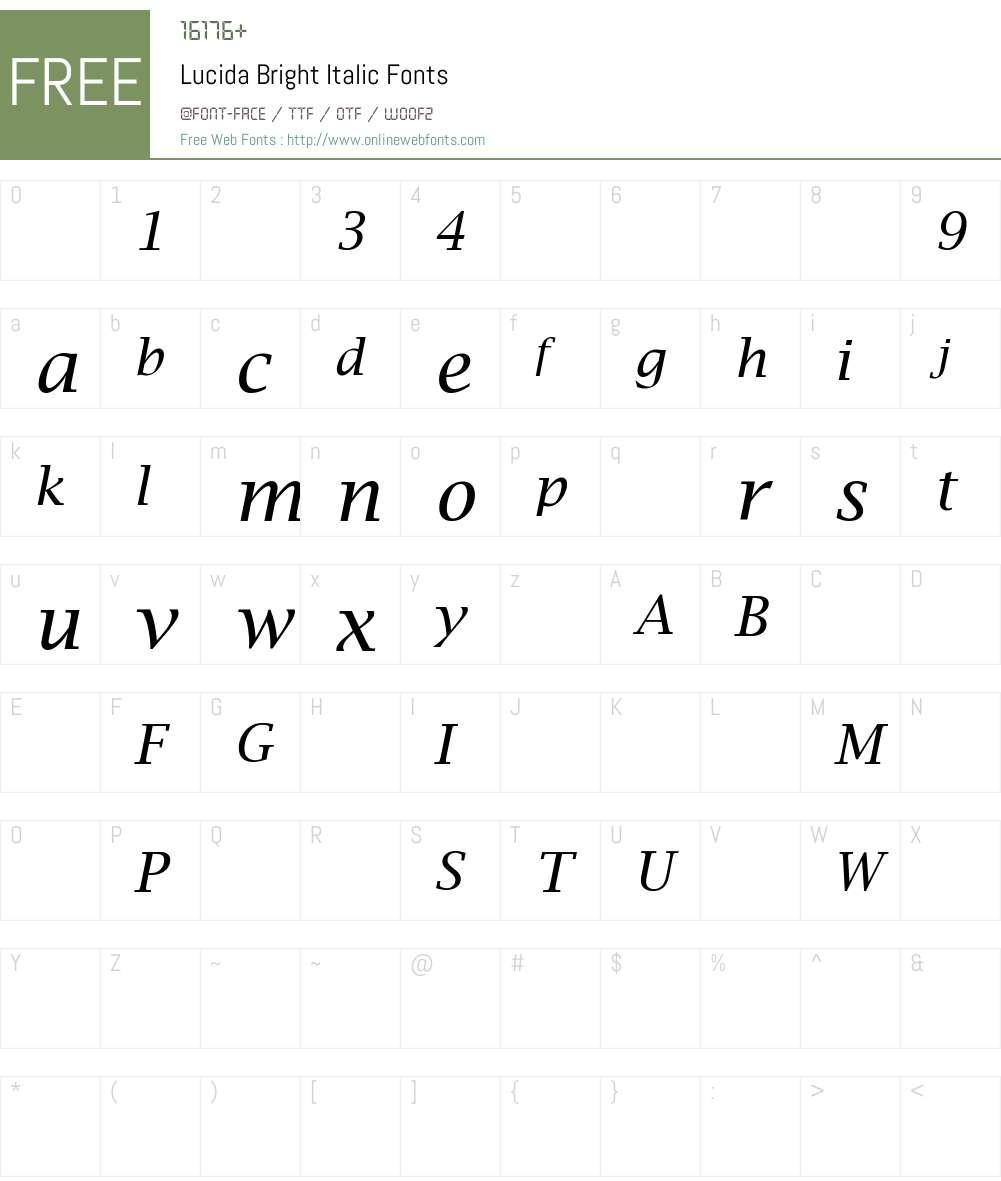 LucidaBright Font Screenshots
