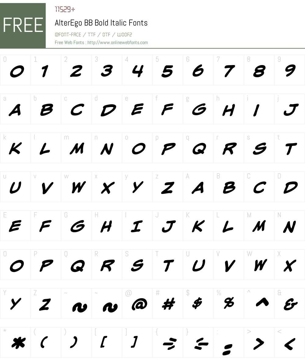 AlterEgoBB-BoldItalic Font Screenshots