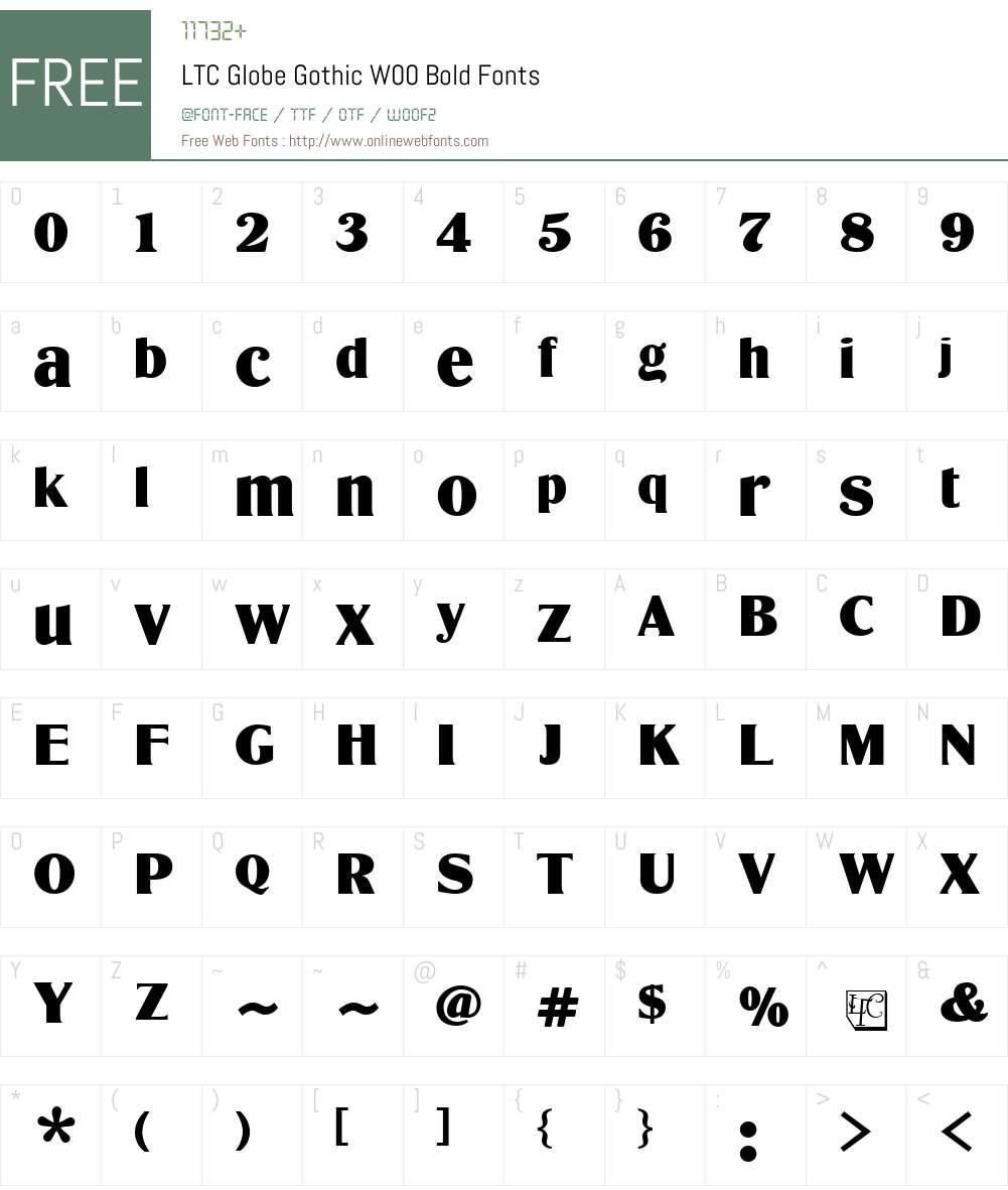 LTCGlobeGothicW00-Bold Font Screenshots