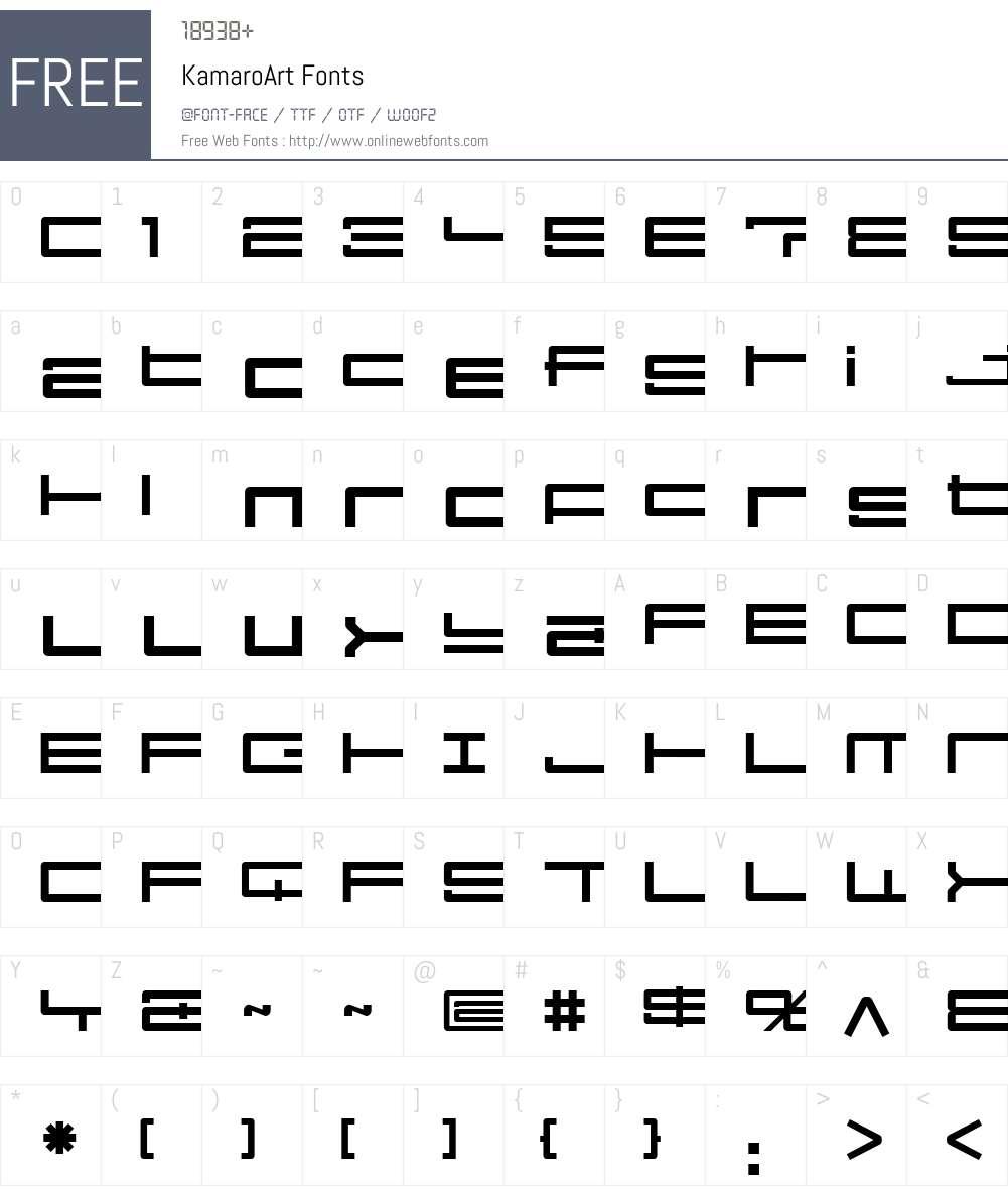 KamaroW00-ArtReg Font Screenshots