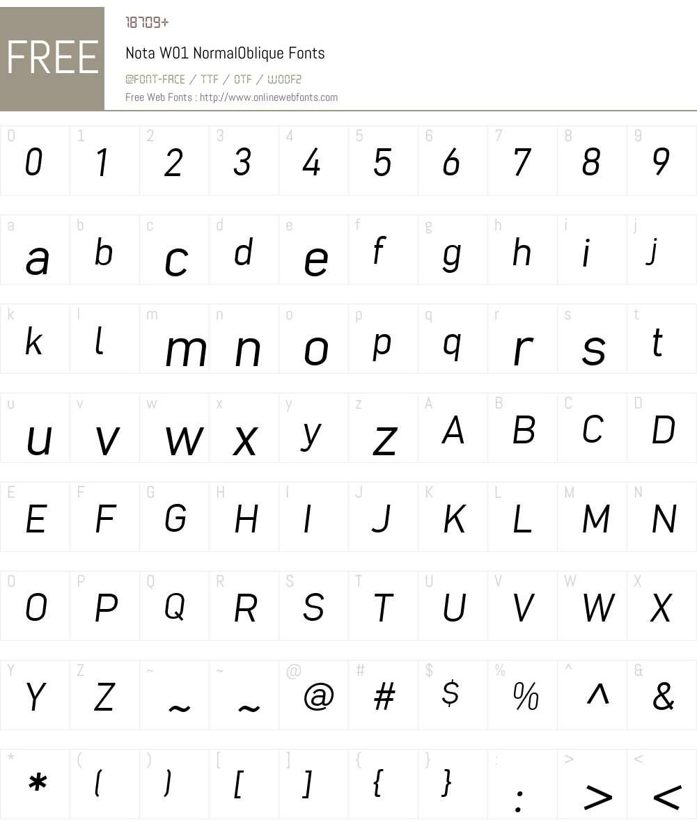 NotaW01-NormalOblique Font Screenshots