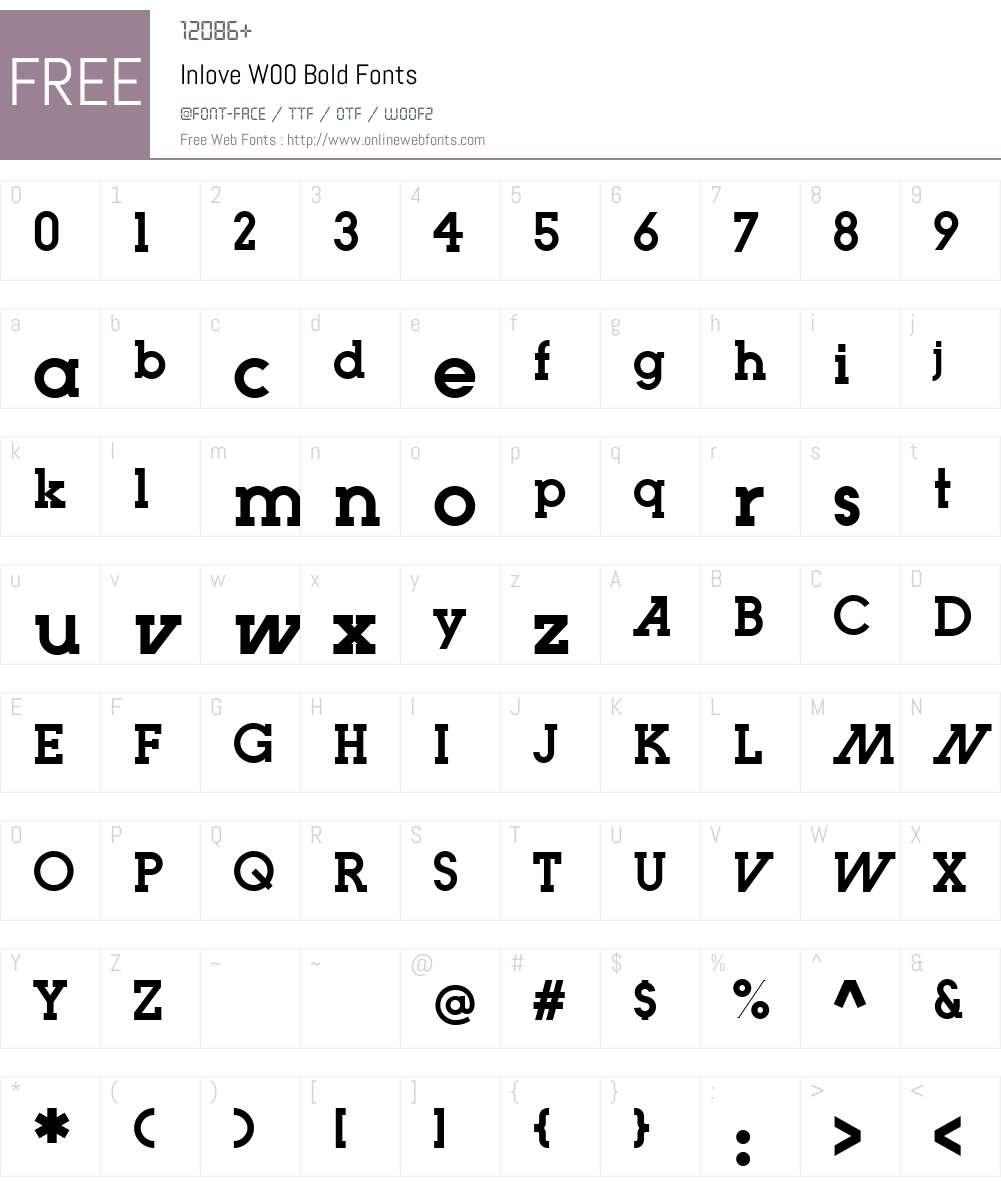 InloveW00-Bold Font Screenshots