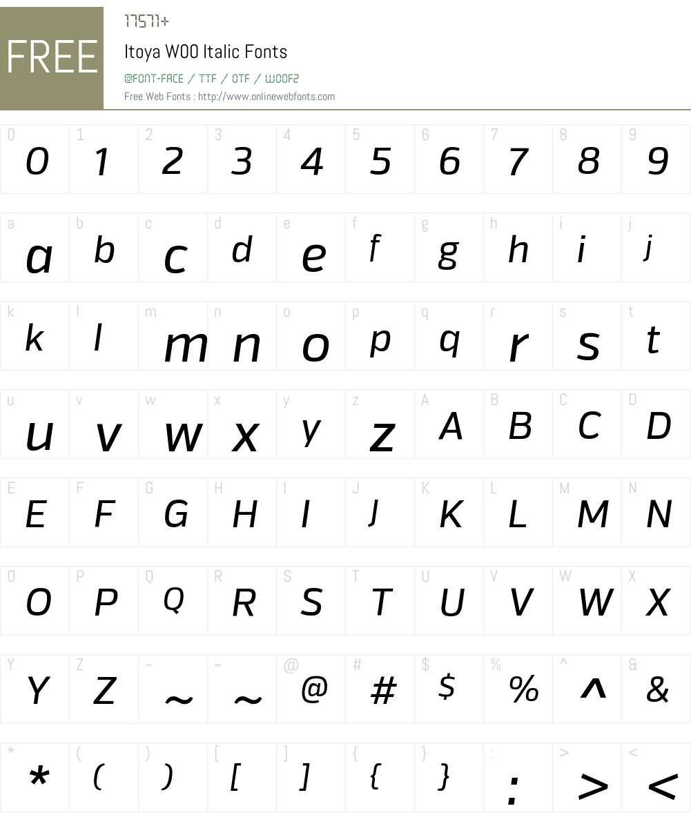 ItoyaW00-Italic Font Screenshots