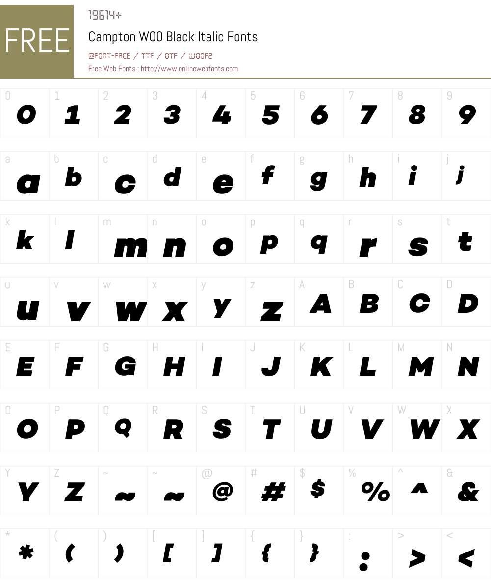 CamptonW00-BlackItalic Font Screenshots
