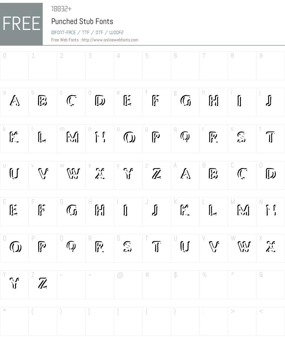 Punched Stub Font Screenshots