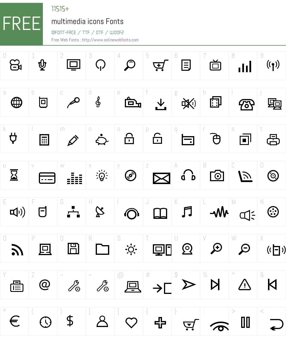 multimedia icons Font Screenshots