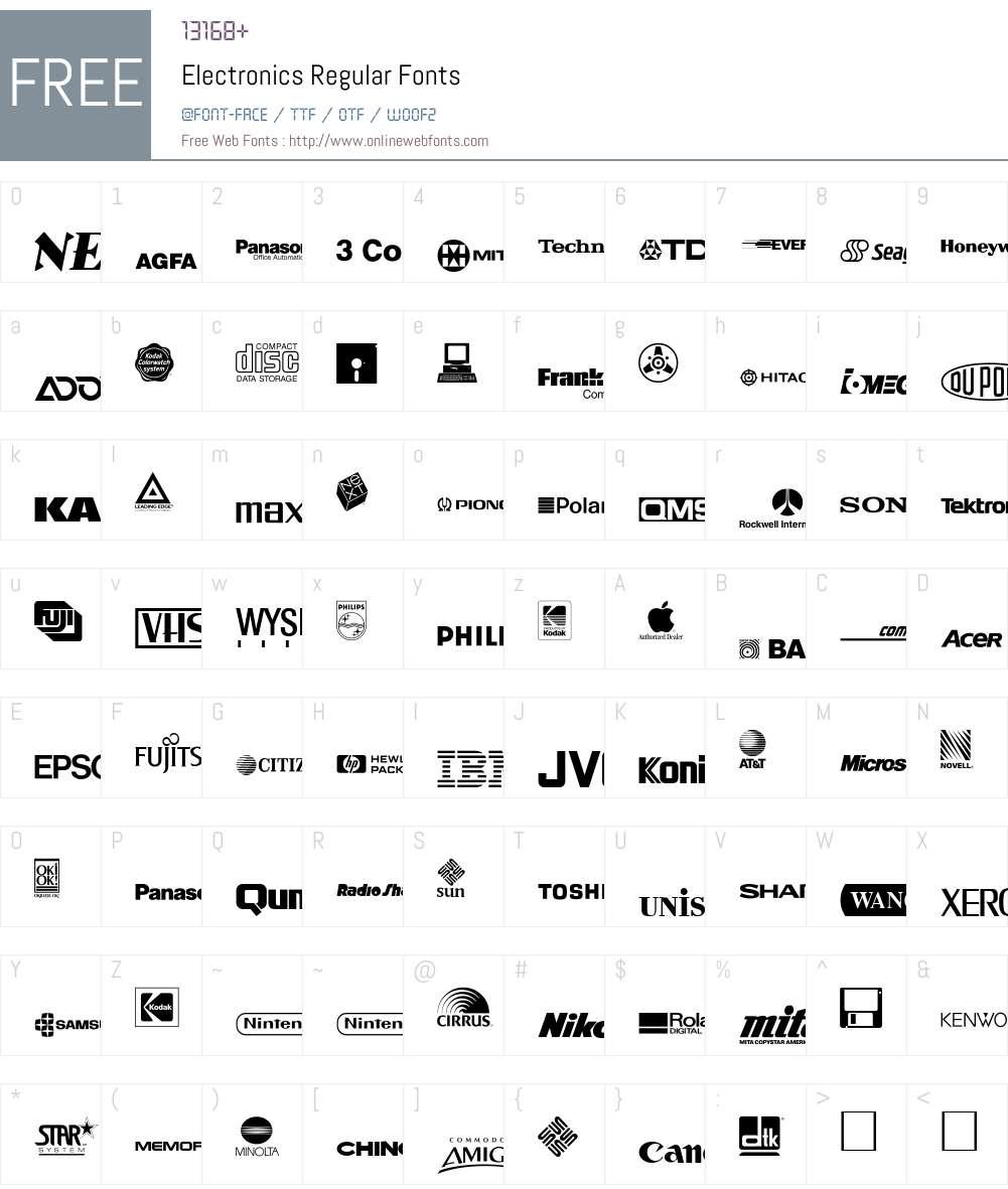 Electronics Font Screenshots