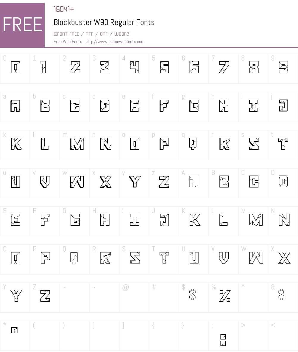 BlockbusterW90-Regular Font Screenshots