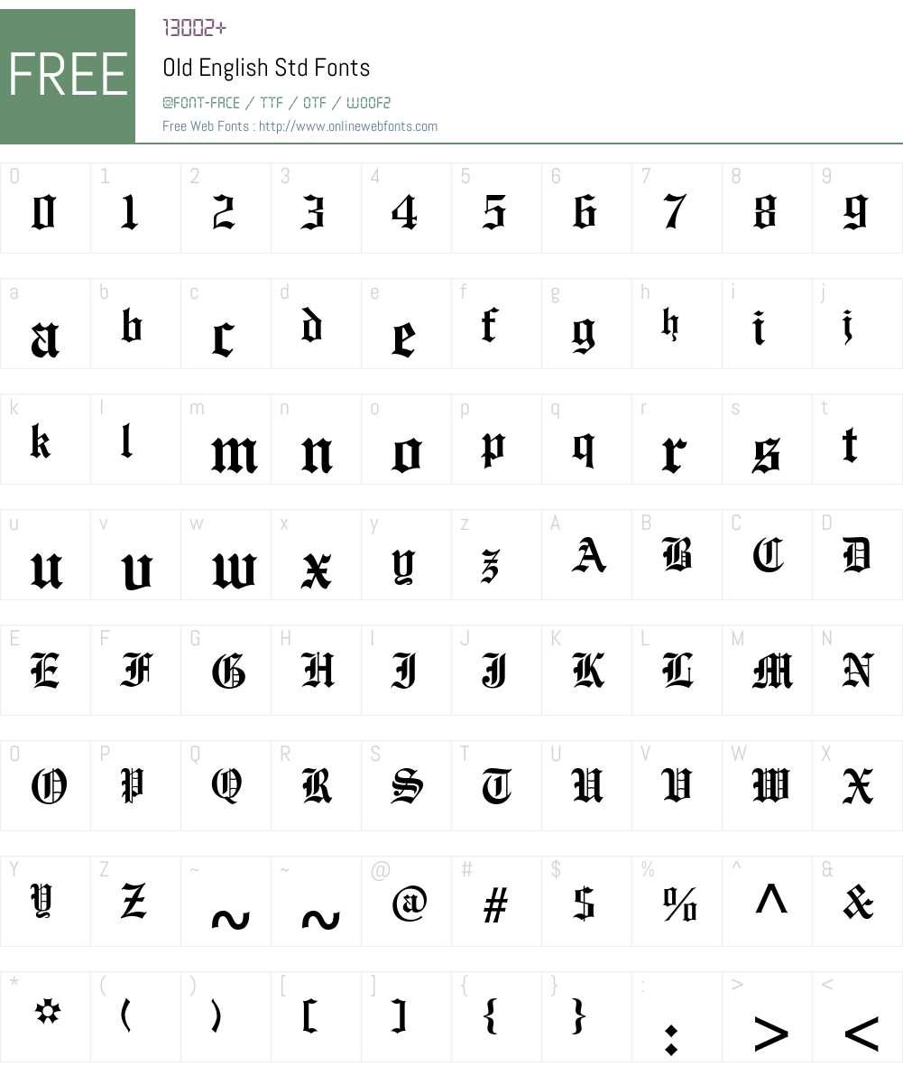 Old English Std Font Screenshots