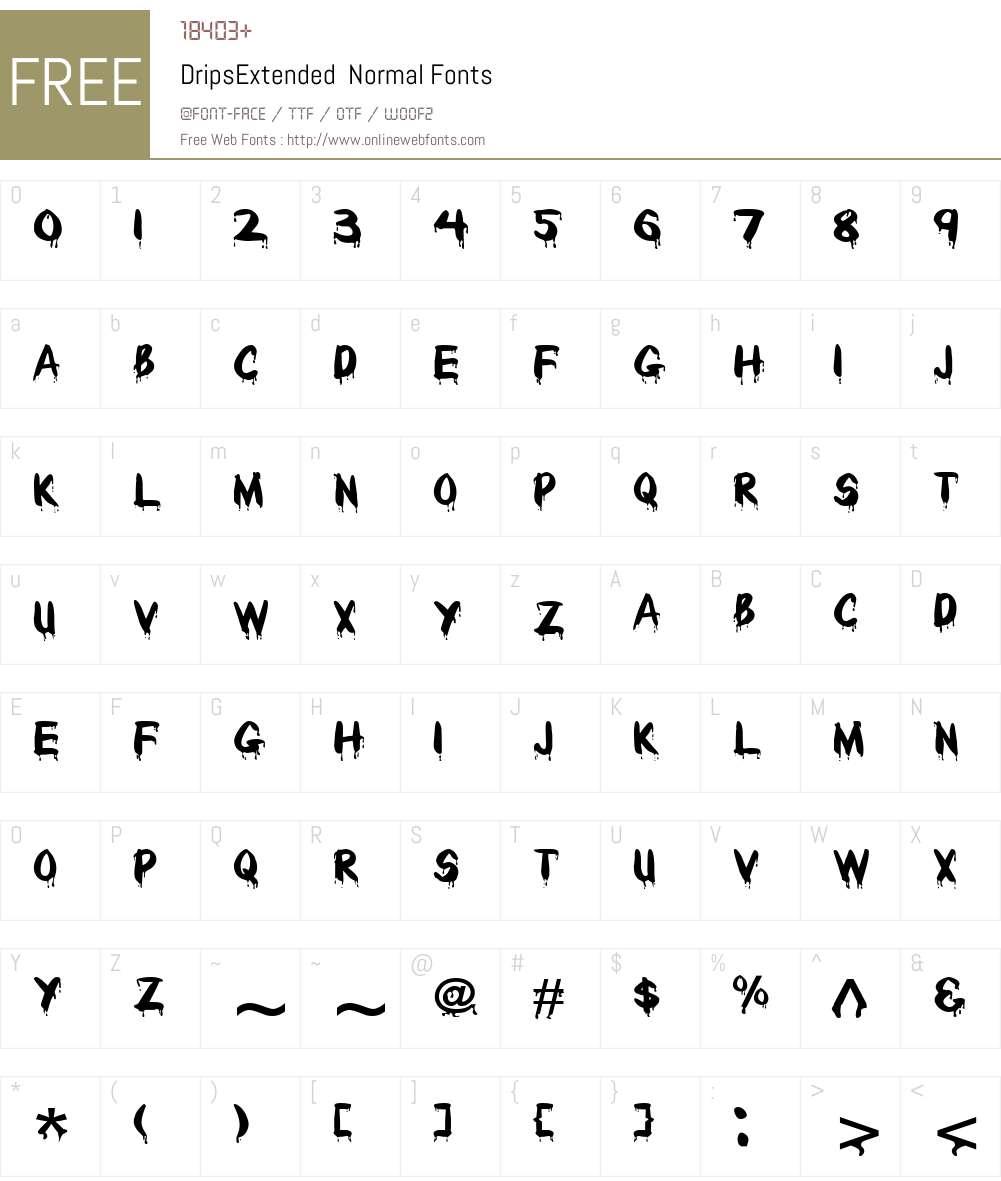 DripsExtended Font Screenshots