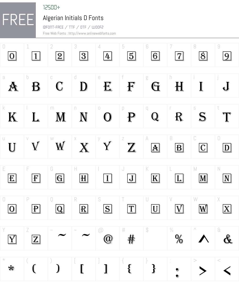 Algerian Initials D Font Screenshots