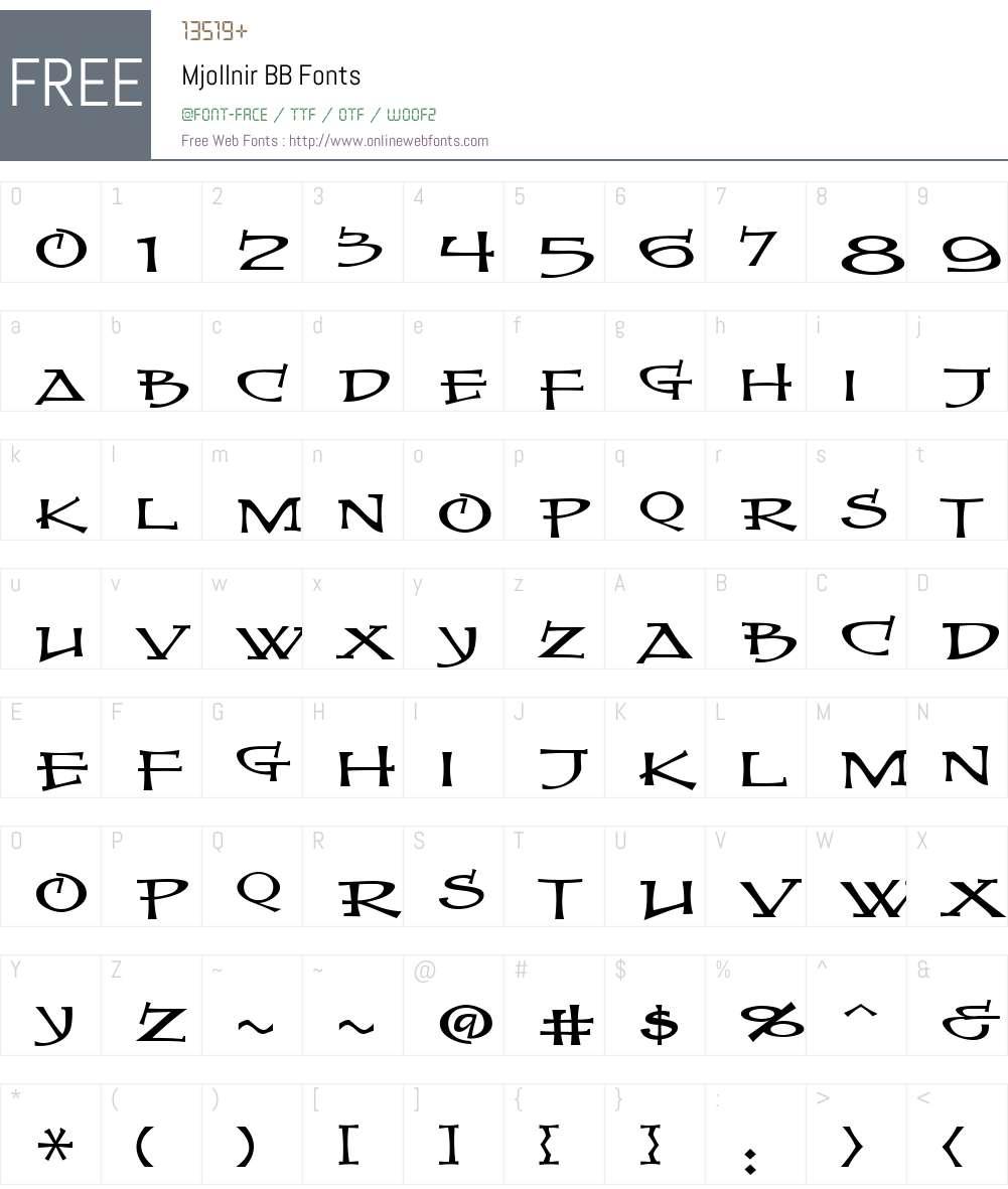 MjollnirBB Font Screenshots