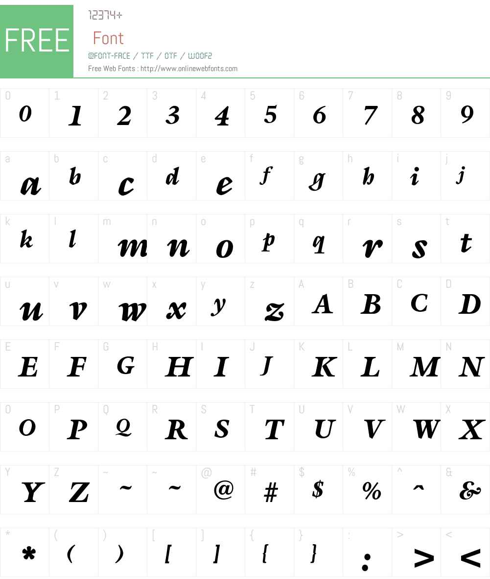 OPTISapir Font Screenshots