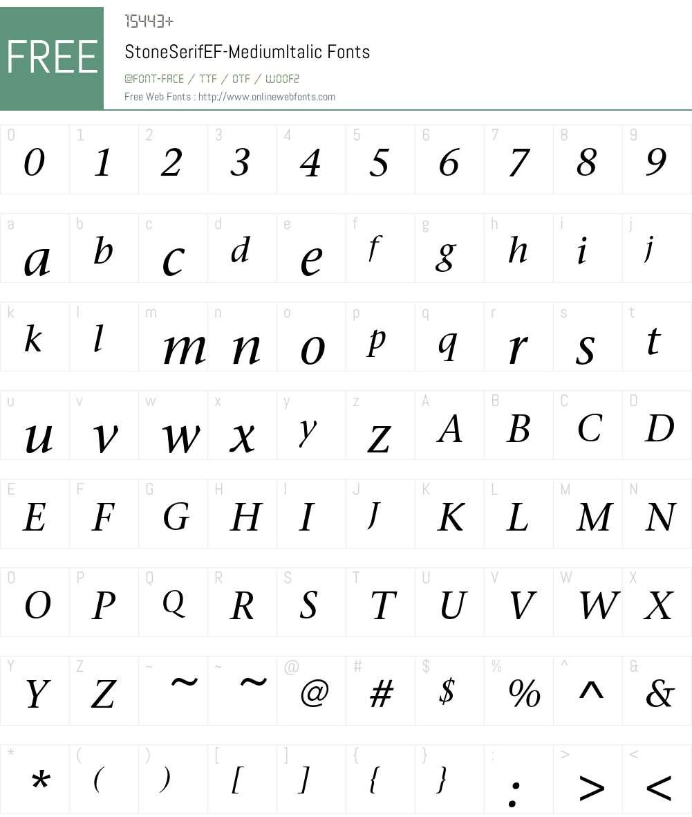 StoneSerifEF Font Screenshots