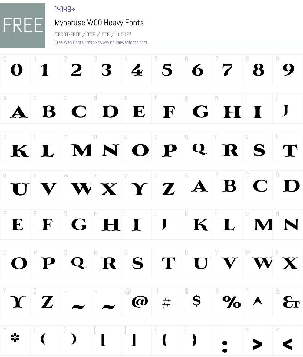 Mynaruse Heavy Font Screenshots