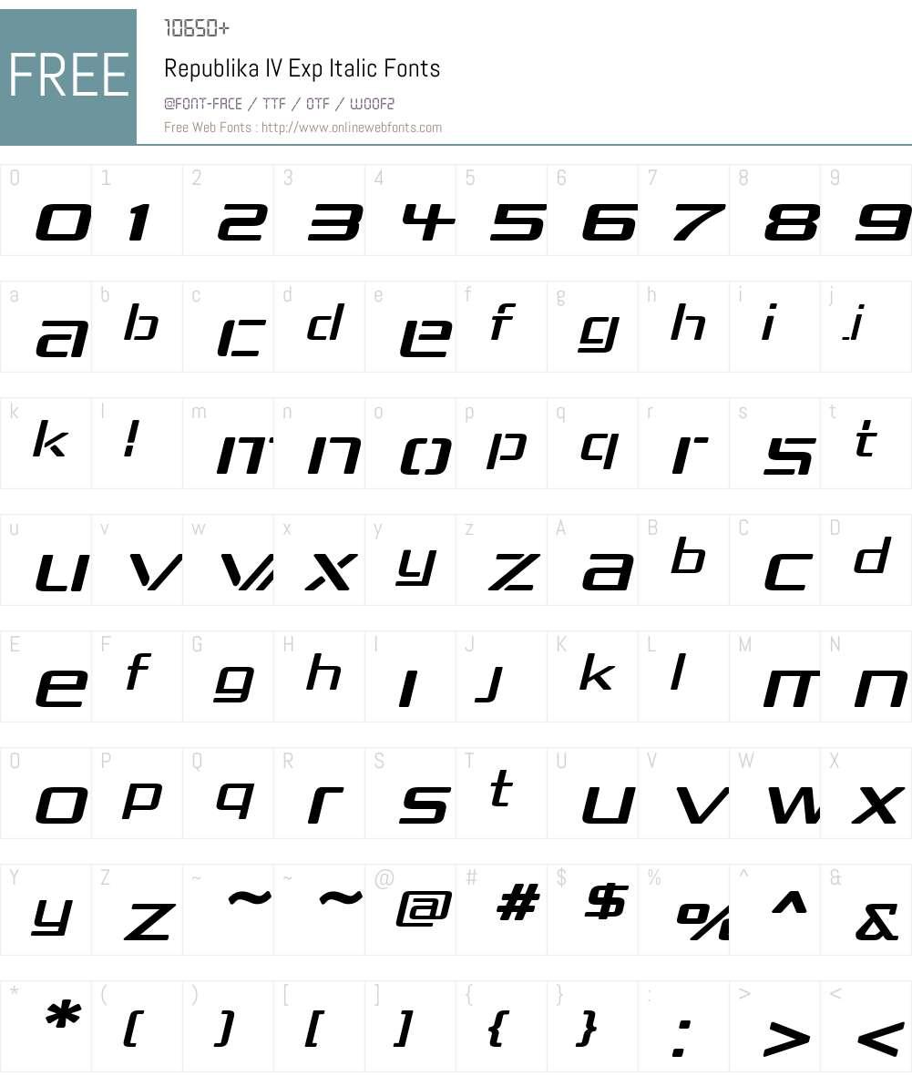 Republika IV Exp Font Screenshots