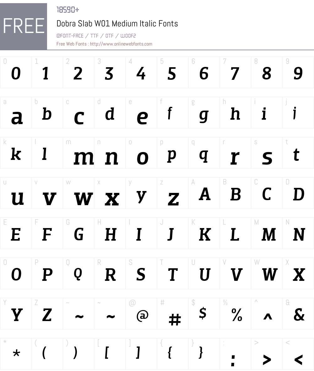 DobraSlabW01-MediumItalic Font Screenshots