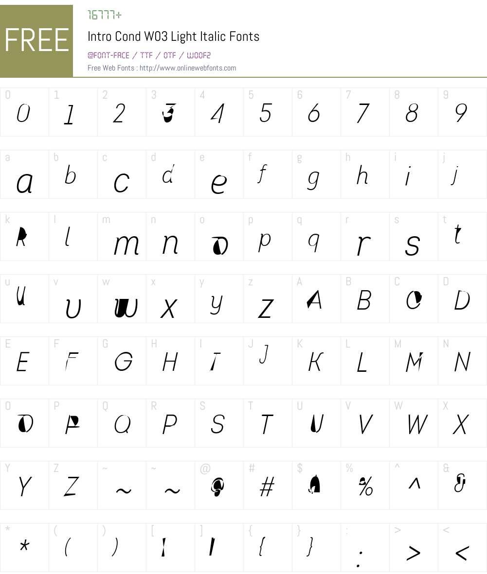 IntroCondW03-LightItalic Font Screenshots