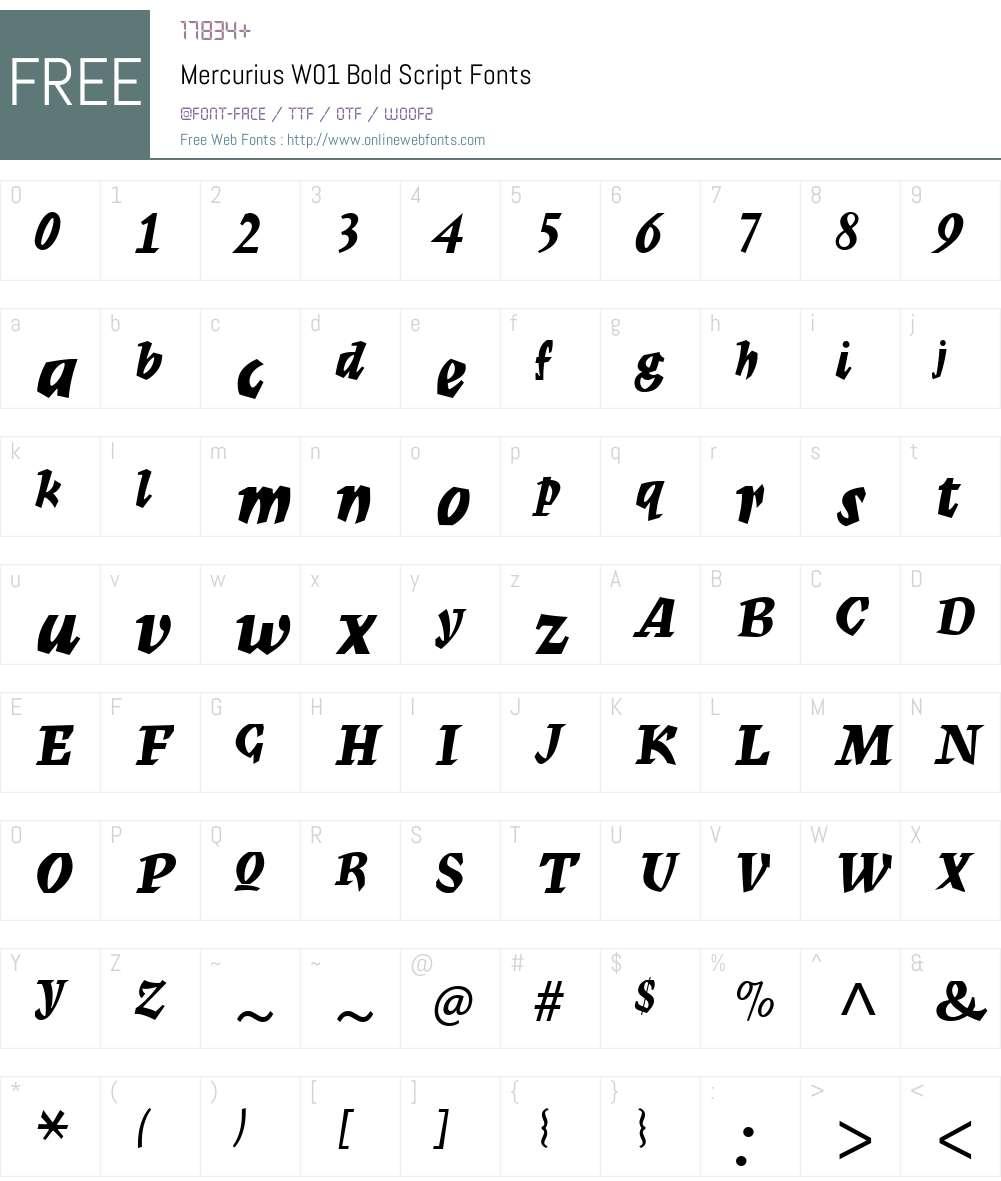 MercuriusW01-BoldScript Font Screenshots