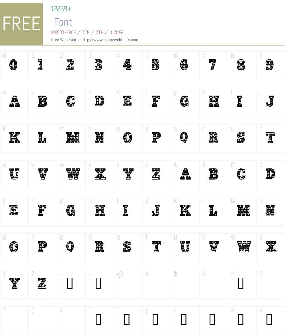 101! Brick Layer Font Screenshots