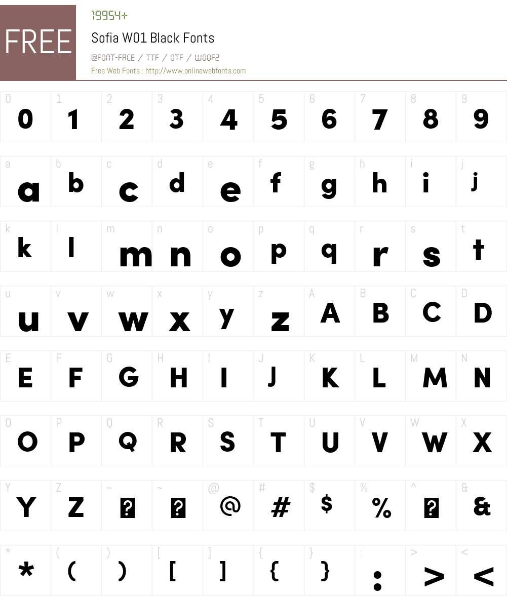 SofiaW01-Black Font Screenshots