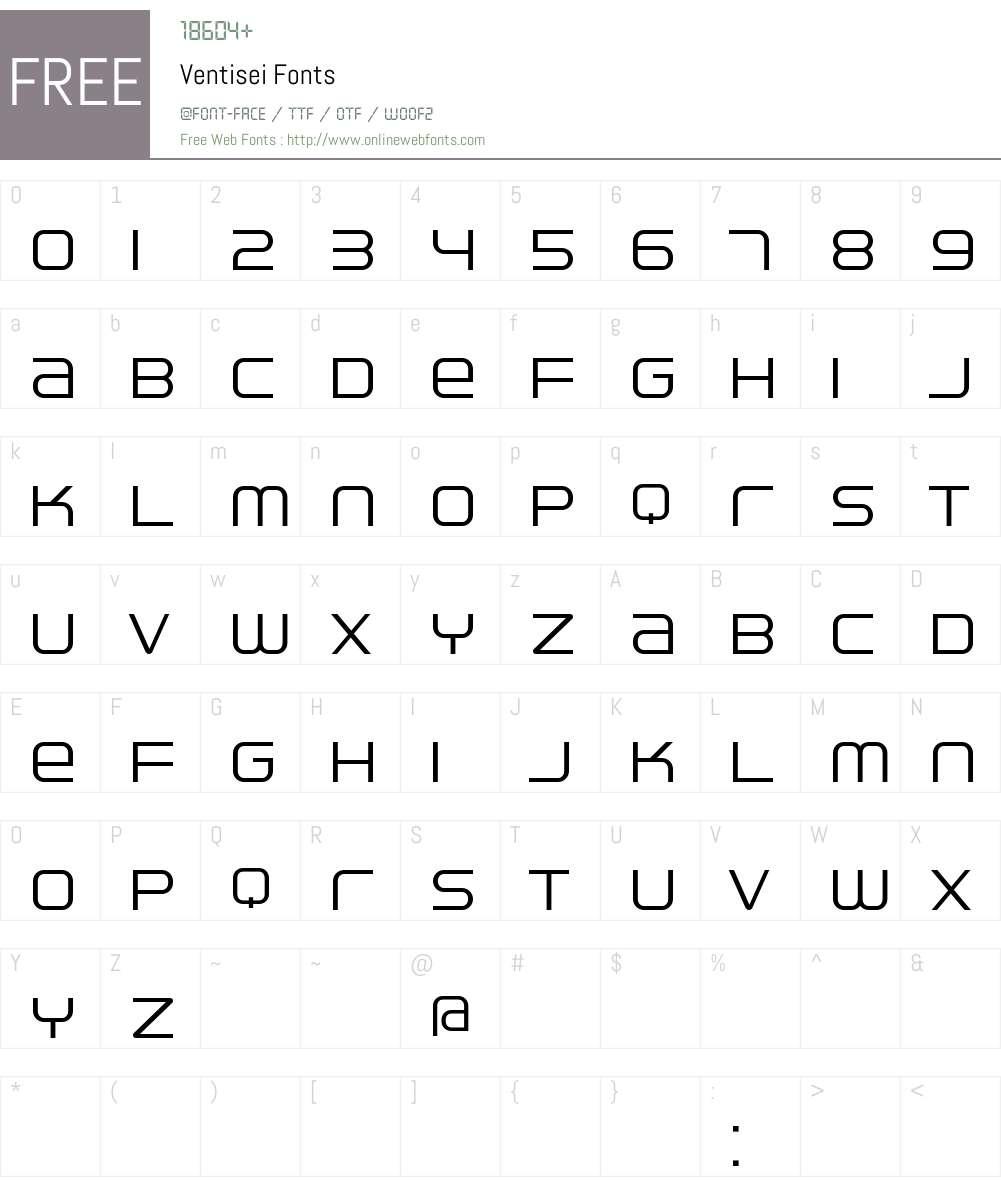 Ventisei Font Screenshots