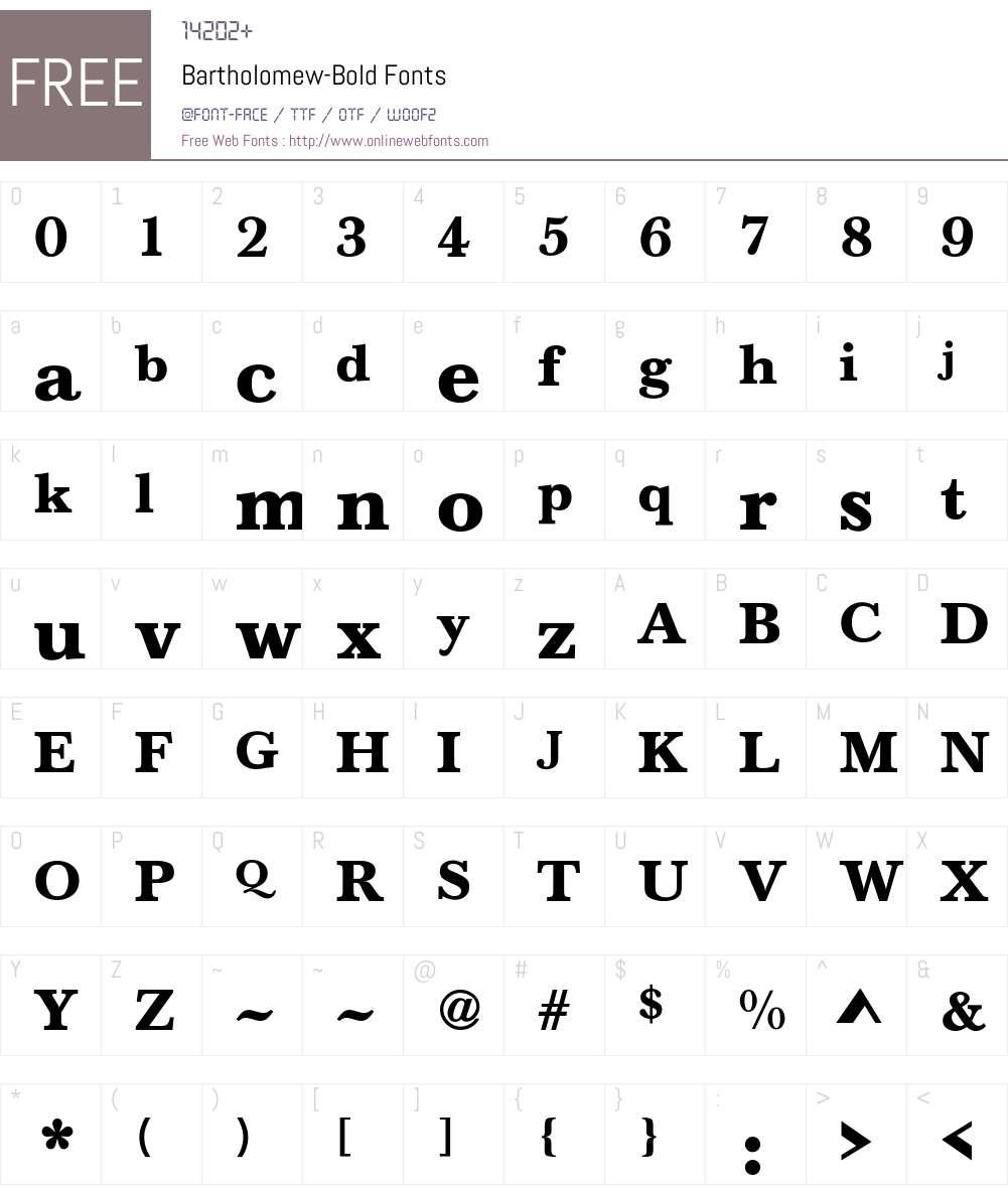 Bartholomew-Bold Font Screenshots