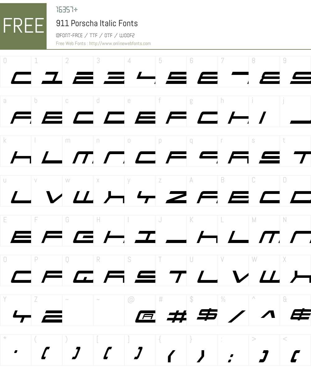 911 Porscha Italic Font Screenshots