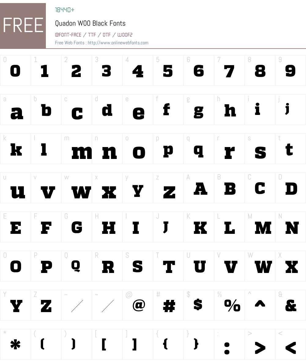 QuadonW00-Black Font Screenshots