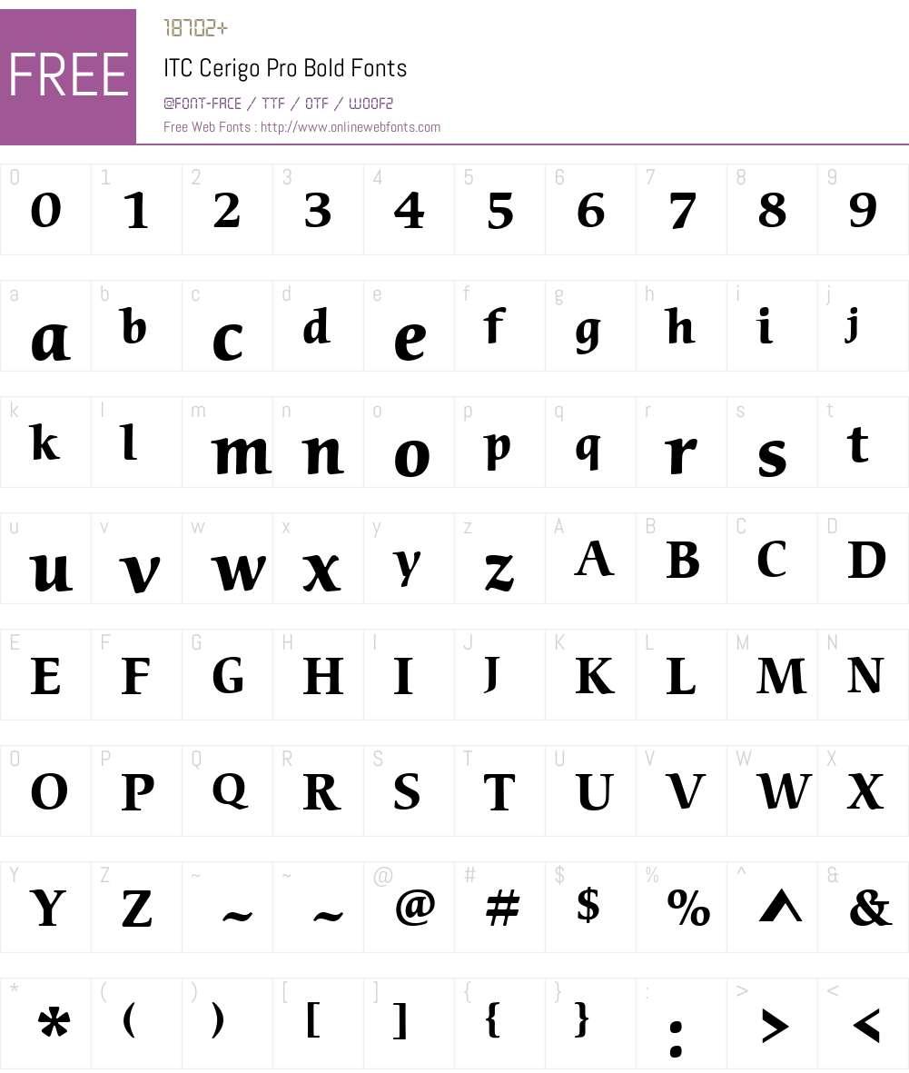 ITC Cerigo Pro Bold Font Screenshots