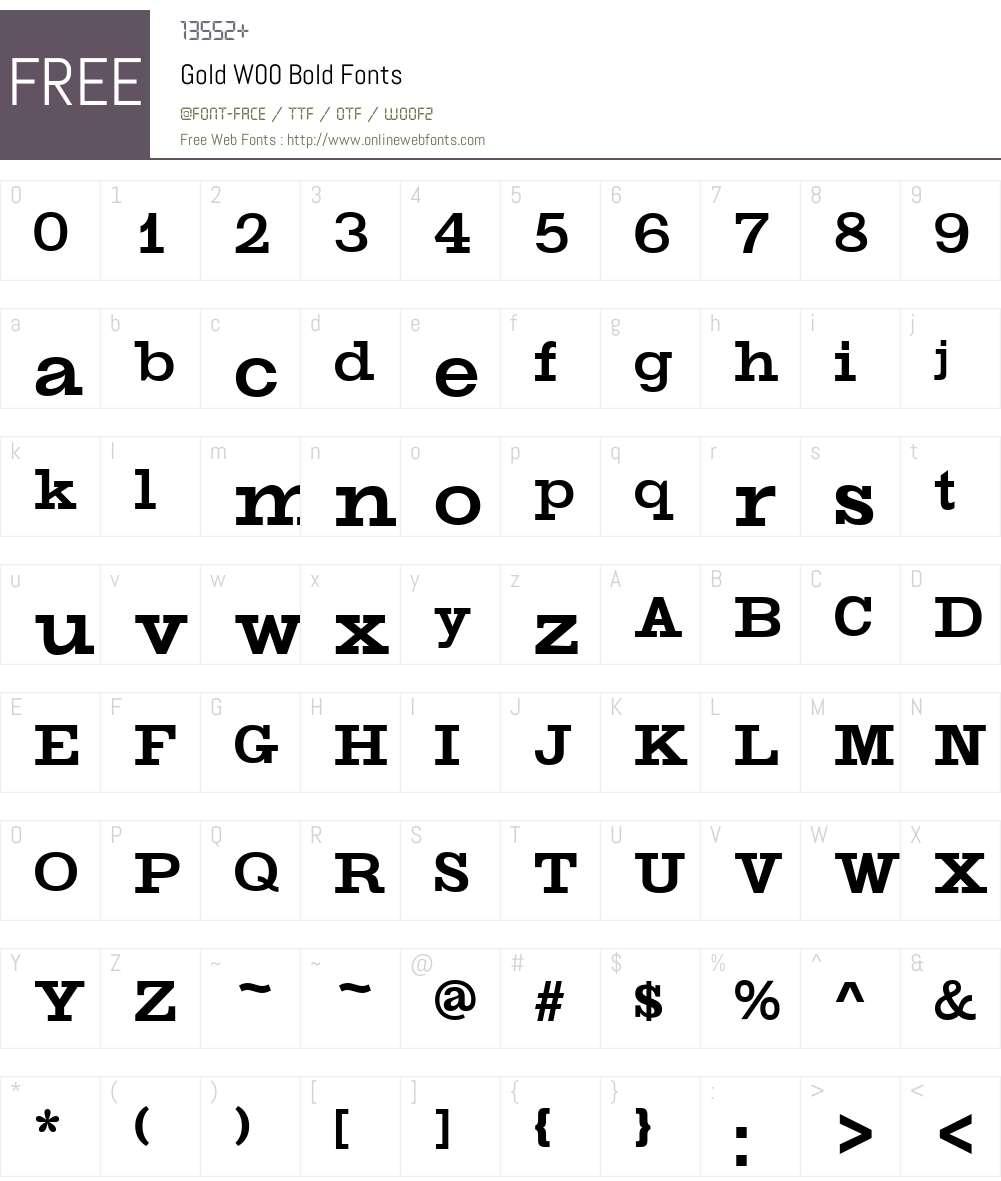 GoldW00-Bold Font Screenshots