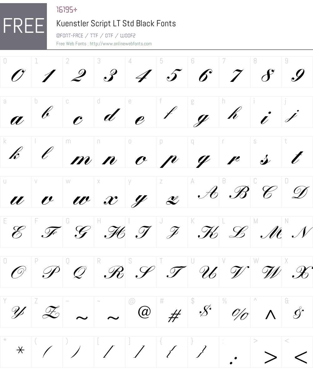 Kuenstler Script LT Std Font Screenshots