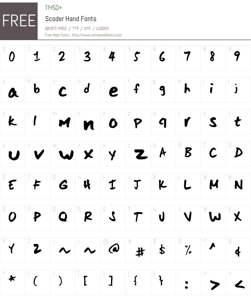 Scoder Hand Font Screenshots