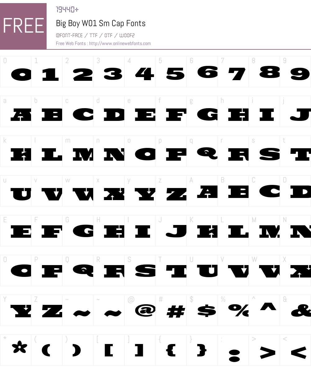 BigBoyW01-SmCap Font Screenshots
