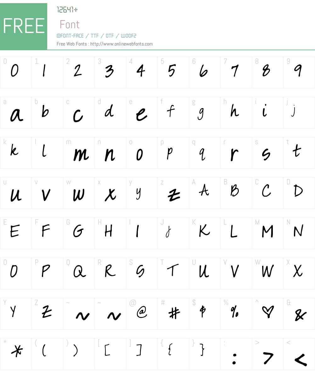 DJB Sarah prints Font Screenshots