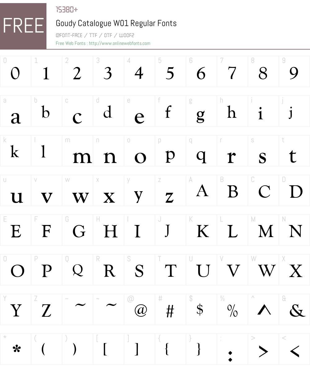GoudyCatalogueW01-Regular Font Screenshots