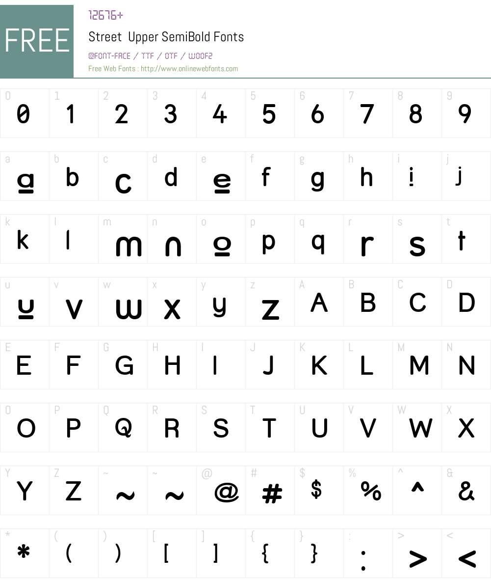 Street  Upper SemiBold Font Screenshots