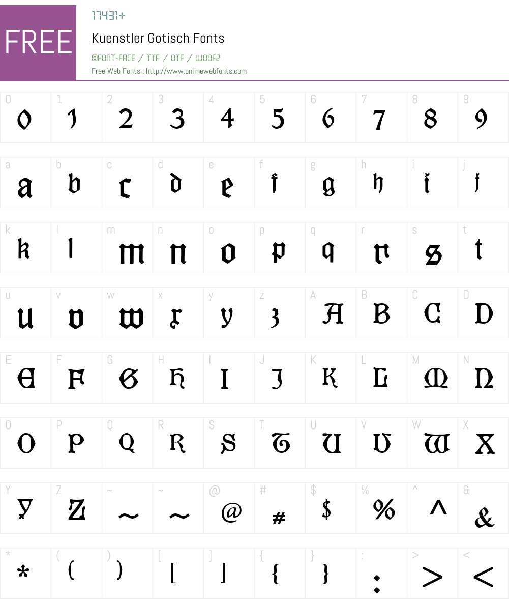 Kuenstler Gotisch Font Screenshots
