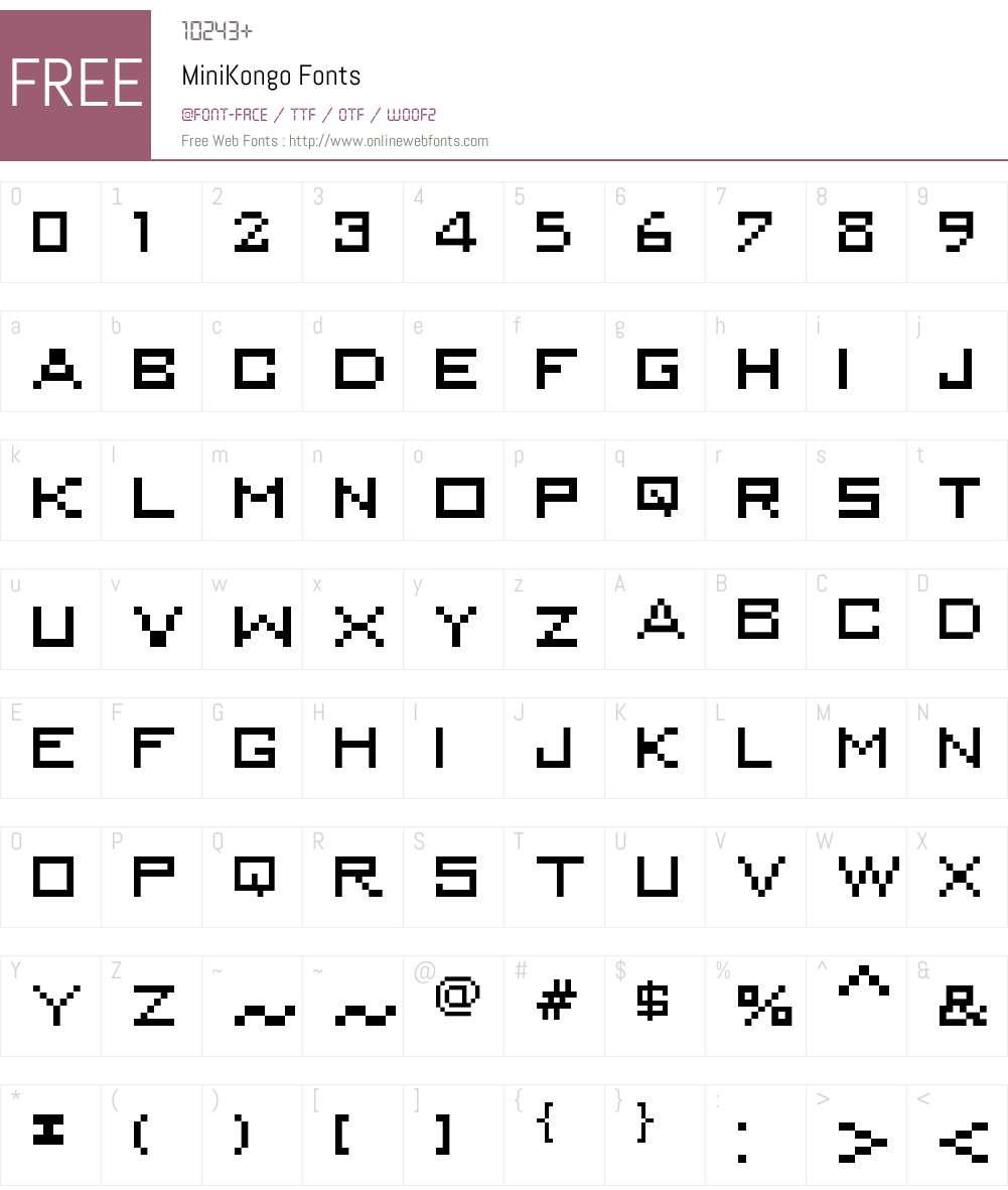 MiniKongo Font Screenshots